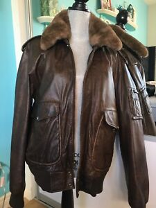 Bomber Aviation Brown  Leather Jacket