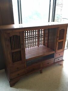 Quality hardwood cabinet or tv stand Indonesian style Grays Point Sutherland Area Preview