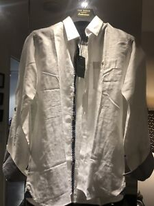 Ted Baker White Linen Dress Shirt - Size 2