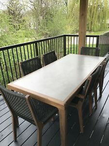 Patio Dining Set w/ Pair of Matching Lounge Chairs & Ottomans