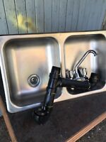 Rv stainless steel sink with the whole p-trap assy