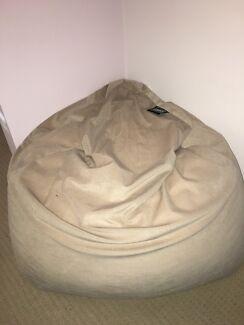 Beige bean bag with bean