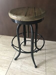 3 reclaimed wood industrial bar stool