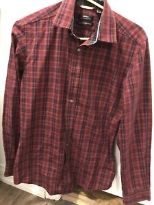 Red plaid dress shirt XS