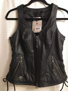 Harley-Davidson women's leather motorcycle vest Small
