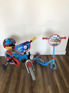 "Thomas train bike 12"", scooter and helmet"