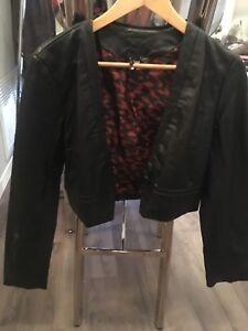 Women's faux leather bolero/shrug style jacket