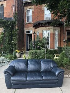 Awesome Blue Leather Couch for Free