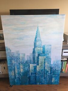 Large serene, soft blue city landscape textured canvas print