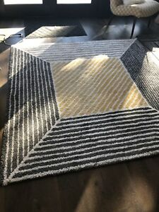 Grey with yellow area rug