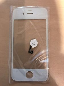 iPhone 4 replacement glass and home button (white) - $20