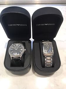 Emporio Armani leather & metal watch