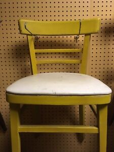 Vintage small yellow wooden chair