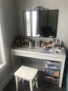 ikea dressing table, stool and mirror