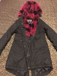 Pink and black winter coat parka