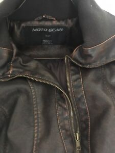 Brown, artificial leather jacket for Spring/Fall