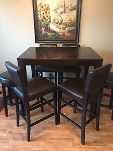 7PC BAR HEIGHT REAL WOOD TABLE
