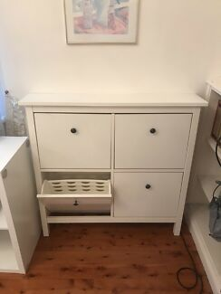 White shoe rack or walkway table / dresser