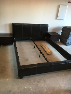 Modern Queen Bed -low line with matching side tables Edmondson Park Liverpool Area Preview
