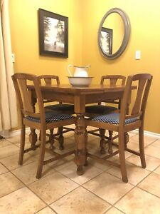 Solid Wood Dining table with 4 reupholstered chairs