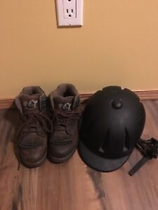 Ropers, riding boots and riding helmet