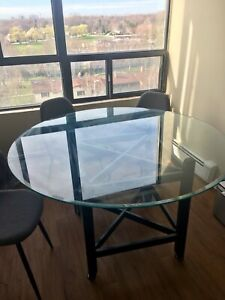 Round Glass Dining Table for Four