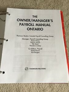 The owners and managers payroll manual Ontario