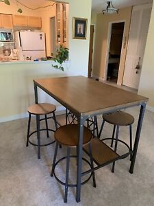 Bar Height Dining Set w/ Built in Wine Rack