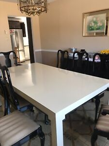 Dining room table with 8 upholstered chairs