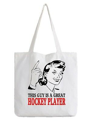 Hockey Player Tote Bag Shopper Best Gift Sport Manger Ice Grass Team Coach