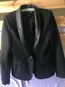 Black blazer with faux leather collar