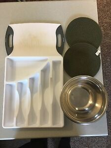 "Cuisinart cutting board, cutlery tray, bowl, ""hot pot"" mats x2"
