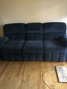 Reclining Couch and loveseat, navy blue
