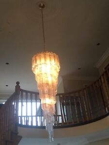 5 foot brass & glass chandelier w/5 ft chain retails for $1000+
