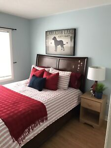 Hard wood queen size bed and mattress for sale