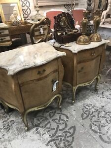 Pair French Bedside Tables with Marble Top