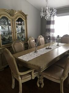 Creamy formal dining set with hutch