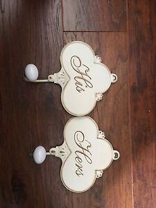 His and Hers metal towel/housecoat hooks