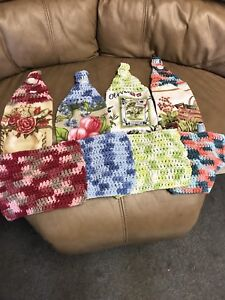 Handmade cotton hanging towel and dishcloths