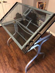 Glass drafting/ art desk