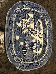 Staffordshire Opaque Pearl platter in willow pattern