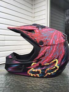 fox dirt biking helmet, size medium