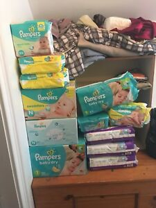 Mostly Pampers diapers/wipes and 3 things of Simply Kids diapers