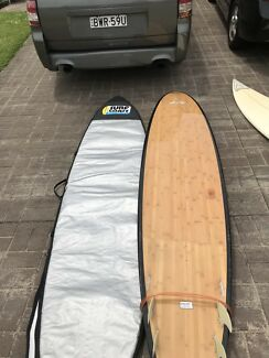 "Malibu Surfboard 9'6"" 'Reverse' Mal with bag and leggy"