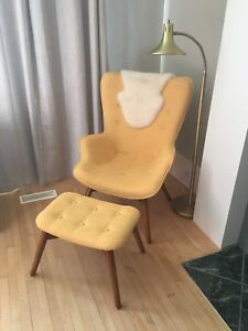 Yellow mid century modern style arm chair and foot stool ottoman