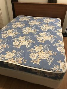 Double bed, box spring, headboard and frame