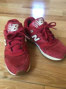 Women New Balance 530 red suede shoes