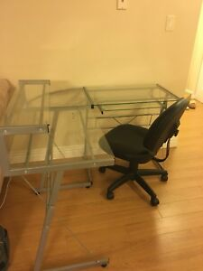 Tempered glass desk with chair