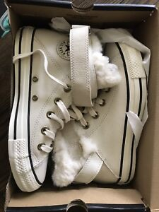 One of a kind Fur-lined Chuck Taylors $200