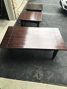 Acacia wood coffee table and 2 end tables